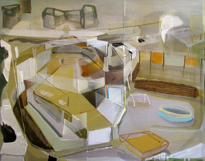 Patrice Charbonneau, Contournement sur cour, 2014, mixed media, 57.5 x 73.5 inches (framed)