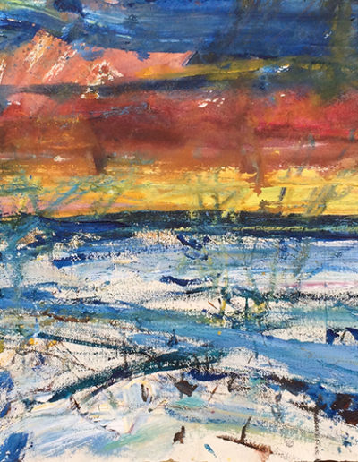 Jim Reid, Peel Plain 15-1-16  2016 acrylic and pastel on paper 22.5 x 44 inches