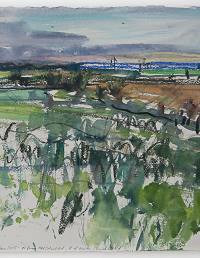 Jim Reid, Peel Plain 3 – 9 June 2015 – N. from Old School Rd., E of Winston Churchill Road, 2016, acrylic and pastel on Arches paper, 17 x 21 inches (framed)