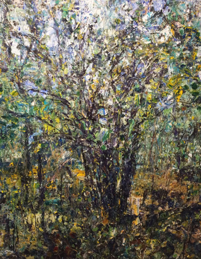 Jim Reid, Buckthorn Tree, September 20–26, 2013, acrylic and collage on panel, 75 x 77 inches
