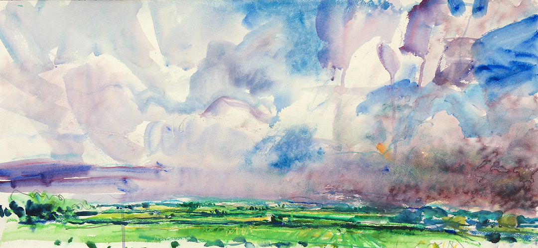 Jim Reid, Peel Plain 13-6-18-1, 2018, acrylic and pastel on paper, 20 x 43 inches