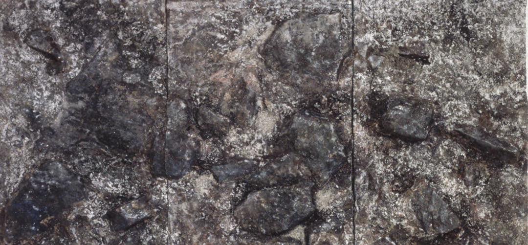 Jim Reid, Frozen Ground, 1998, acrylic and collage on plywood, 72 x 144 inches