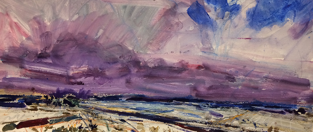 Jim Reid, Peel Plain 13-6-18-2, 2018, acrylic and pastel on paper, 20 x 43 inches