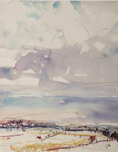 Jim Reid, Peel Plain 10-2-17, watercolour on paper, 25 x 35 inches