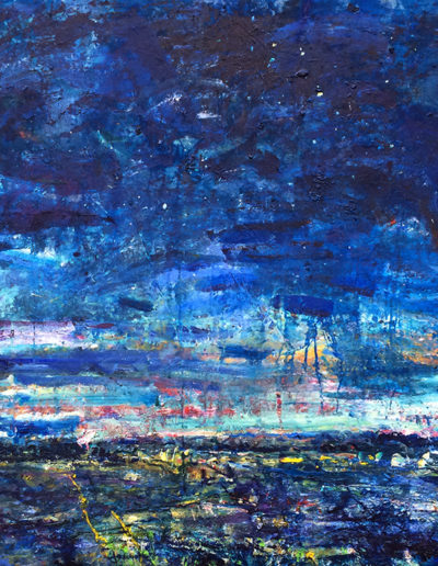 Jim Reid, Peel Plain 3-6-16: N. W. from King St. at Sloan Road, 2016, acrylic on canvas 72 x 108 inches