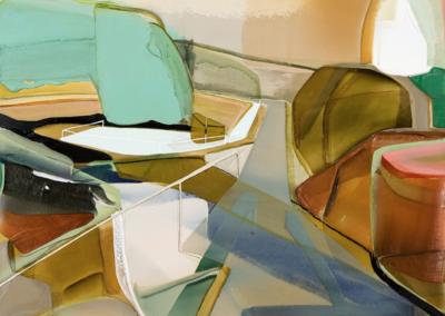 Patrice Charbonneau, Kiosque, 2016, acrylic on canvas, 37 x 43 inches