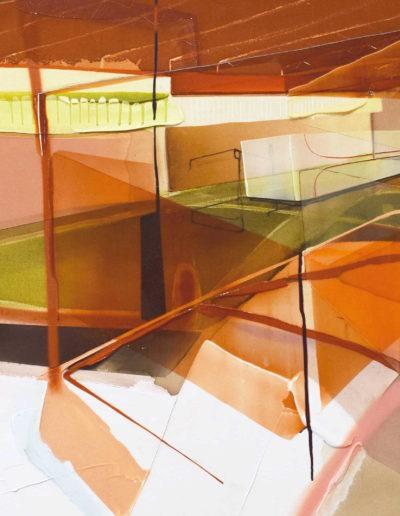 Patrice, Charbonneau, Réception / direction frontale (Série: Sièges Sociaux), 2017, acrylic and aerosol on canvas, 42 x 84 inches