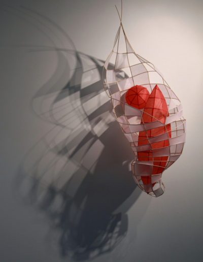 Xiaojing Yan, Flux I  2008, tissue paper and natural reed, 14 x 16 x 38 inches