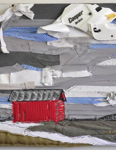 Liz Pead, The Red Barn, 2013, recylced hockey equipment on board, 16 x 20 inches