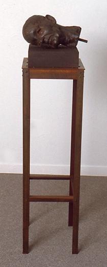 "Fallen Head, 1997 Edition 1/5 Patinated Steel, Bronze, Wood 50"" x 12"" x 12"