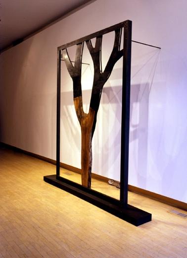 "Bifurcation, 2003 Wood and Steel 98"" x 10"" x 100"""