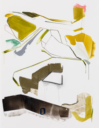 Patrice Charbonneau, Enfouissement, 2014, acrylic and crayon on paper, 36 x 28.25 inches (framed), Private Collection