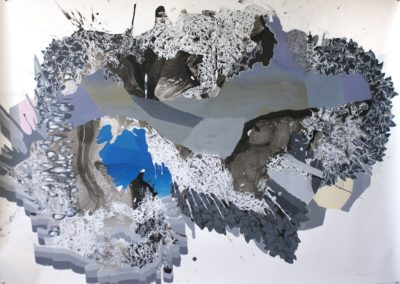 Katherine Tzu-Lan Mann, Untitled, 2016, acrylic, sumi ink and silkscreen on paper, 60 x 80 inches
