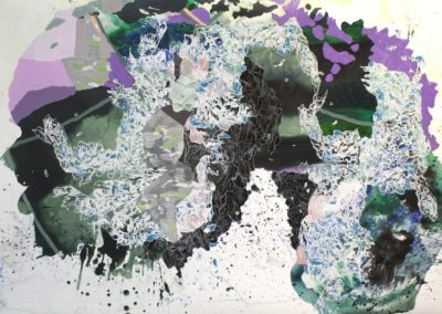 Katherine Tzu-Lan Mann, Lichen I, 2014, acrylic and sumi ink on paper, 41 x 60 inches