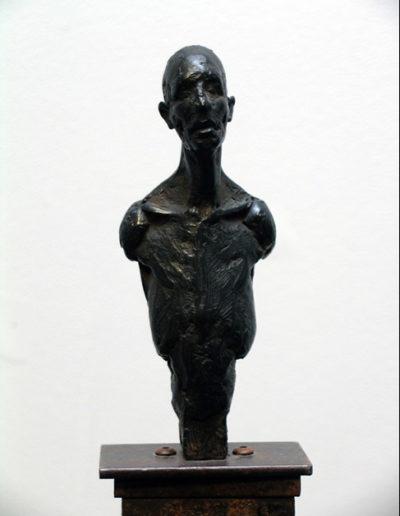 Torso Study, bronze sculpture on steel base, 53x6x6 inches