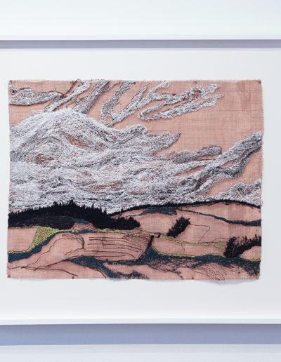 Liz Pead, Banffshire, Scotland #3, 2016, polyester thread on 80 copper mesh, 22.75 x 26.5 inches (framed)