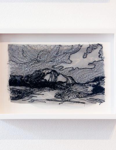 Liz Pead, Silver Skies, Isle of Skye, Isle Ornsay, 2015, polyester thread on steel 83 mesh, 7.5 x 10 inches