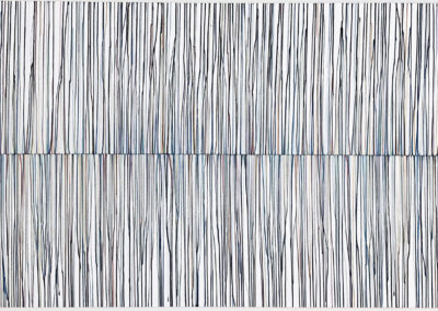 Beth James, Untitled (drips: centre origin) 04, 2019, watercolour on paper, mounted on panel, 36 x 72 inches