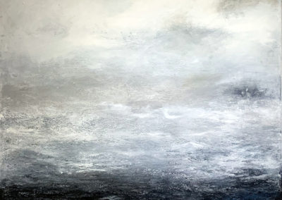 M'Liz Keefe, Blue Ocean with Clouds, 2019, oil and wax on canvas, 46 x 46 inches