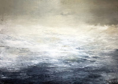 M'Liz Keefe, Davy's Grey Ocean, 2019, oil and wax on canvas, 46 x 46 inches