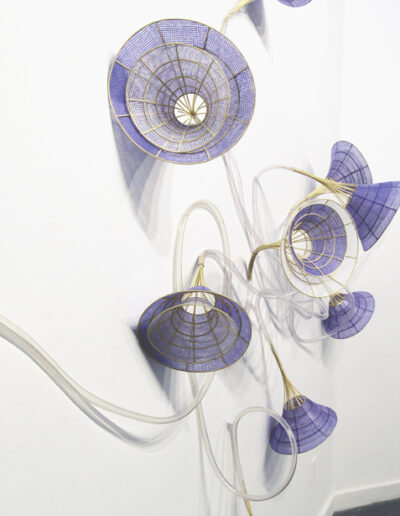 Xiaojing Yan, Morning Glory,2016-18, paper, natural reed, plastic tube, dimensions variable (Detail)
