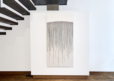 Beth James, Untitled (drips: curved origin) 02, 2019, watercolour on paper, mounted on panel, 72 x 36 inches (Installation View)