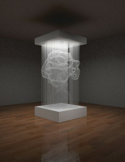 Xiaojing Yan, Cloud Cell, 2014, Freshwater pearls, monofilament thread, aluminum, 96 x 45 x 45 inches