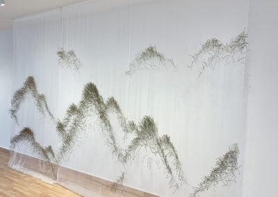 Xiaojing Yan, Mountain of Pine, 2018, pine needles & silk organza, dimensions variable