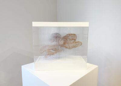 Xiaojing Yan, Spirit Cloud (Pink Mini), 2019, freshwater pearl, filament, aluminum, ed. 1/4, 20 x 22.5 x 10.6 inches