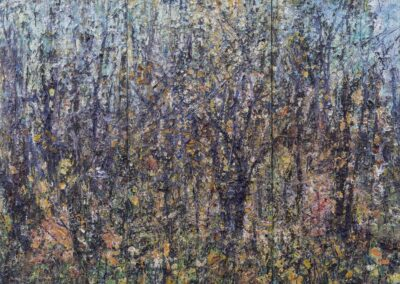 Jim Reid, Feral Orchard 1-11-13, 2013, acrylic and collage on panel, 72 x 105 inches