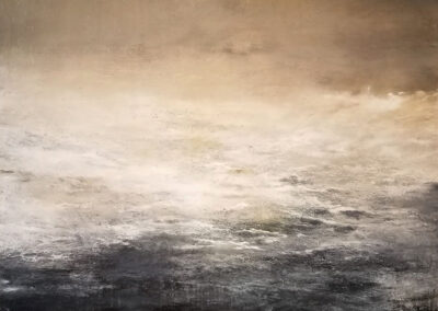 M'Liz Keefe, Davy's Grey Ocean 2019, oil and wax on canvas, 46 x 46 inches