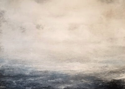 M'Liz Keefe, Ocean with Clouds, 2019, oil and wax on canvas, 46 x 46 inches